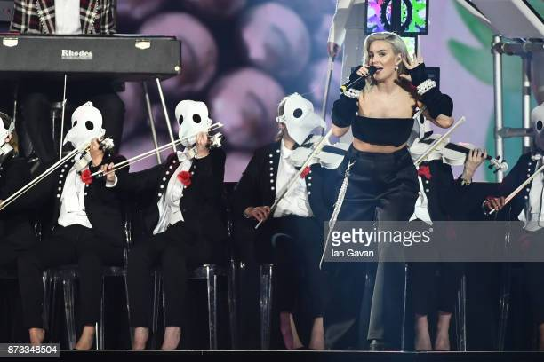 Anne Marie performs on stage with Clean Bandit during the MTV EMAs 2017 held at The SSE Arena Wembley on November 12 2017 in London England