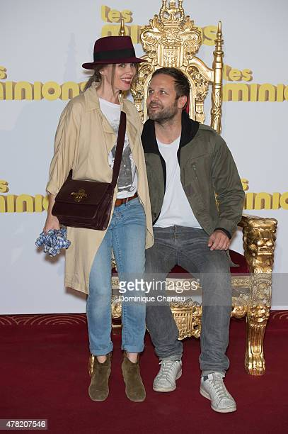Anne Marivin and her husband Joachim Roncin attend the Les Minions Paris premiere at Le Grand Rex on June 23 2015 in Paris France