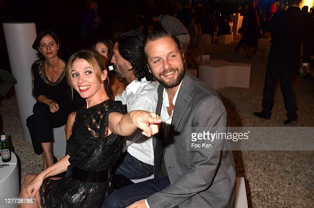 Anne Marivin and Joachim Roncin attend the Peroni Nastro Azzuro Beer Cocktail Party at the Italian Embassy on September 29 2011 Paris France