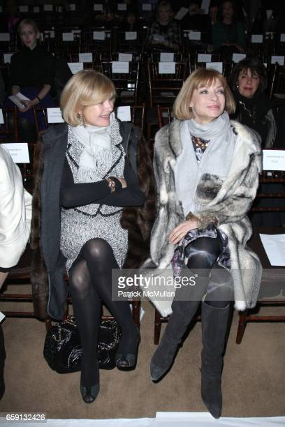 Anne McNally and Anna Wintour attend ISAAC MIZRAHI Fall/ Winter 2009 Collection at NY Public Library 5th Ave 42nd St on February 19 2009 in New York...