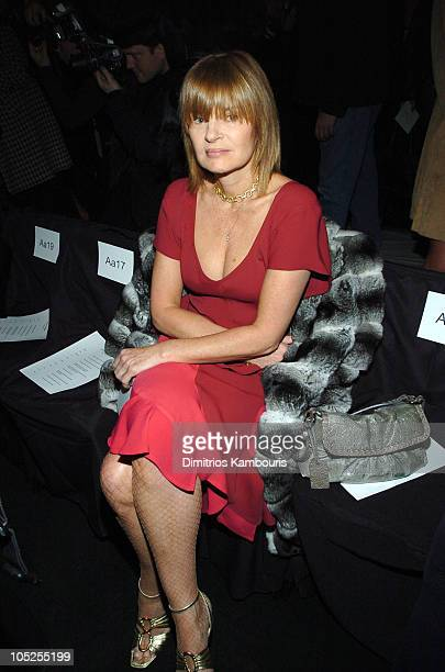 Anne McNally during Olympus Fashion Week Fall 2004 Narciso Rodriguez Front Row and Backstage at The Tent at Bryant Park in New York City New York...