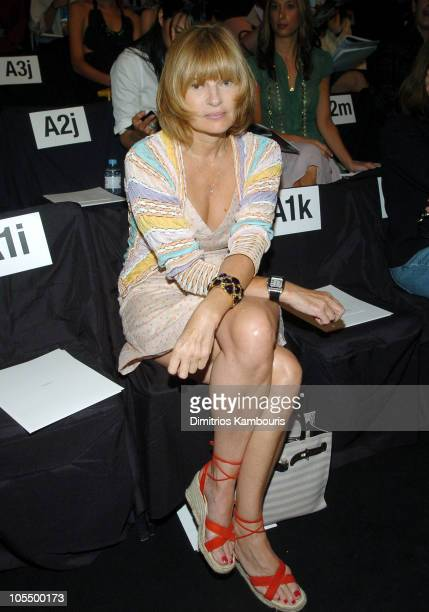 Anne McNally during Olympus Fashion Week Spring 2005 Vera Wang Front Row and Backstage at Theater Tent Bryant Park in New York City New York United...