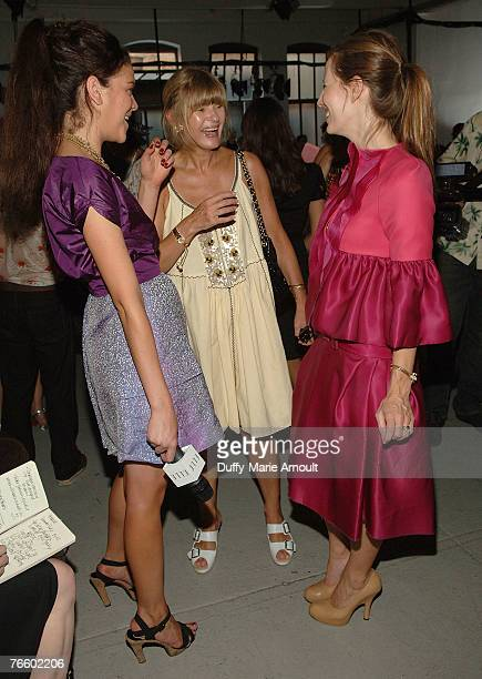 Anne McNally Liz Goldwyn and guest front row at the Rodarte Spring 2008 show during MercedesBenz Fashion Week Spring 2008 at 548 West 22nd street on...