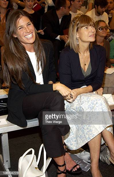 Anne McNally with guest during MercedesBenz Fashion Week Spring 2004 Proenza Schouler Front Row and Backstage at Javits North Pavillion in New York...