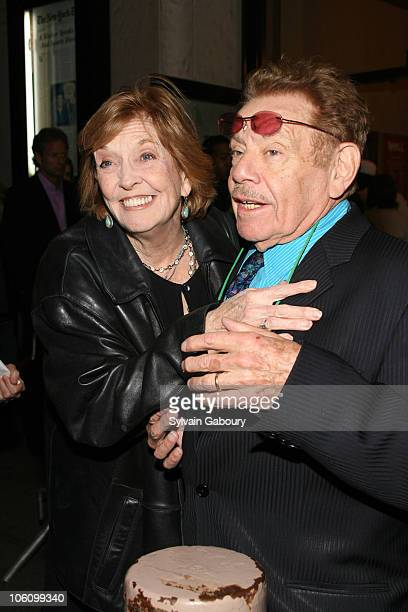 Anne Meara and husband Jerry Stiller during Broadway opening night of Well at Longacre Theater in New York NY United States