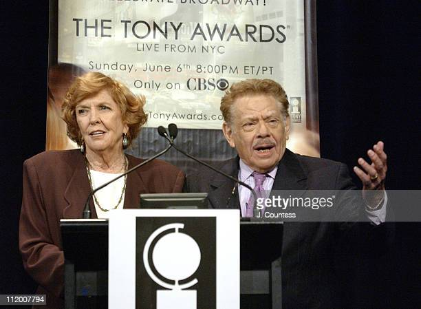 Anne Meara and Jerry Stiller during 58th Annual Tony Awards Nominee Announcements at Hudson Theater in New York City, New York, United States.