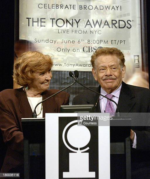 Anne Meara and Jerry Stiller during 58th Annual Tony Awards Nominee Announcements at Hudson Theater in New York City New York United States