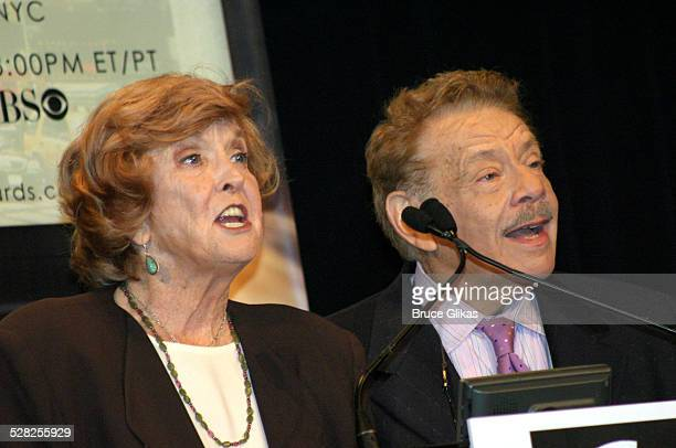 Anne Meara and Jerry Stiller during 58th Annual Tony Awards Nominee Announcements at The Hudson Theater in New York City New York United States