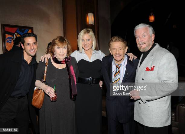 Anne Meara and Jerry Stiller with guests pose backstage at the Jerry Stiller show at the Hilton Hotel & Casino on January 17, 2009 in Atlantic City,...
