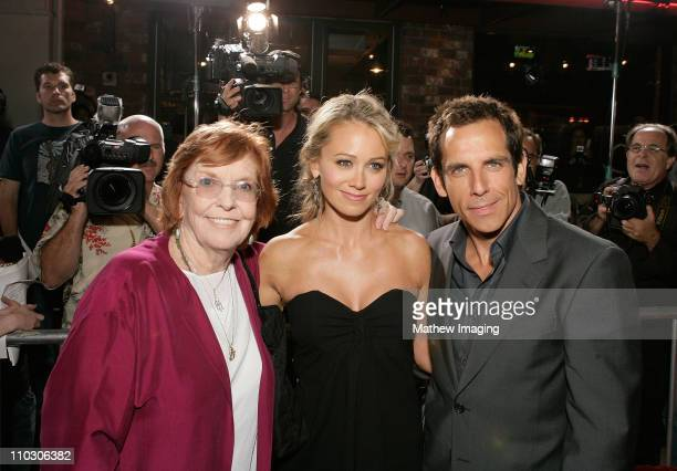 """Anne Meara, Christine Taylor and Ben Stiller at the premiere of """"The Heartbreak Kid"""" at Mann's Village Theater on September 27, 2007 in Westwood,..."""