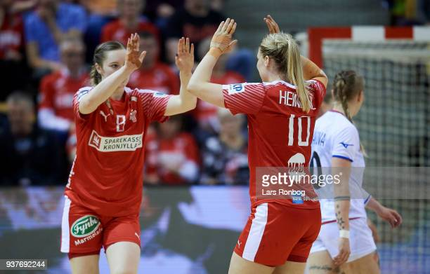 Anne Mette Hansen and Kathrine Heindahl of Denmark celebrate during the 2018 Women European Championship Qualification 2 match between Denmark and...