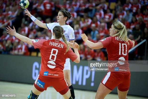 Anne Mette Hansen of Denmark and Kathrine Heindahl of Denmark defending during the EHF EURO 2018 qualification match between Denmark and Czech...