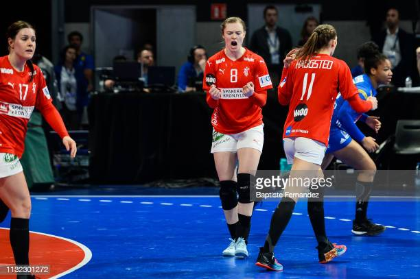Anne Mette Hansen of Denmark celebrates during the Handball Golden League match between France and Denmark on March 23 2019 in ClermontFerrand France