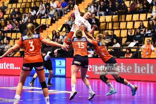 Anne Mette Hansen of Denmark during the Golden League match between Norway and Denmark on March 21 2019 in ClermontFerrand France