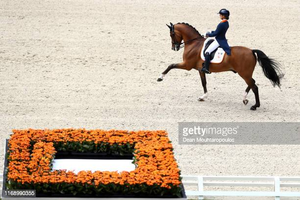 Anne Meulendijks of the Netherlands riding MDH Avanti N.O.P. Competes during Day 1 of the Dressage Grand Prix Team Competition at the Longines FEI...