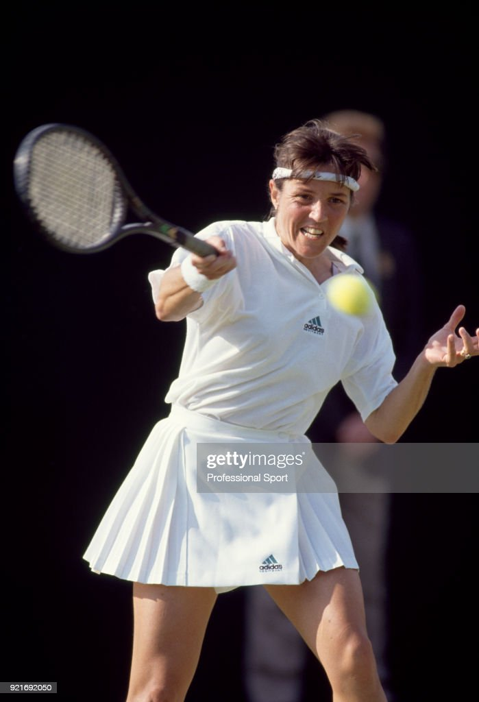 Anne Minter of Australia in action during the Wimbledon Lawn Tennis Championships at the All England Lawn Tennis and Croquet Club, circa June, 1991 in London, England.