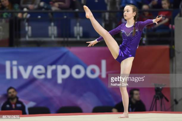 Anne Molly Stewart of Apex Gymnastics competes in the floor exercise during the British Gymnastics Championships at the Echo Arena on March 26 2017...