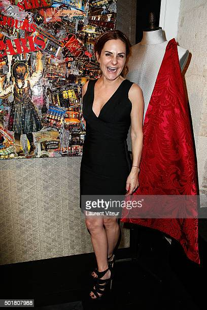 Anne Mondy daughter of actor Pierre Mondy attends Accords Croises Anne Mondy's exhibition at Rue Bonaparte on December 17 2015 in Paris France