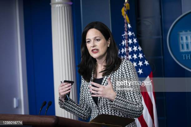 Anne Neuberger, deputy national security advisor for cyber and emerging technology, speaks during a news conference in the James S. Brady Press...