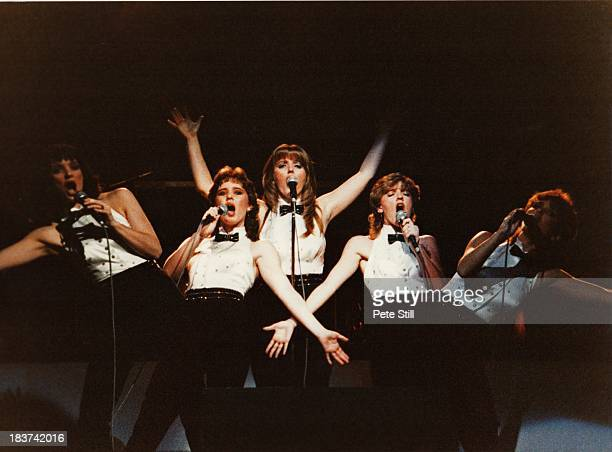 Anne Nolan Coleen Nolan Linda Nolan Bernie Nolan and Maureen Nolan of The Nolans perform on stage at the Dominion Theatre on November 30th 1982 in...