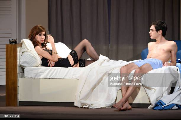 Anne Parillaud and Arthur Fenwick perform in the 'Le Laureat' Theater Play Runthrough at Theatre Montparnasse on January 29 2018 in Paris France