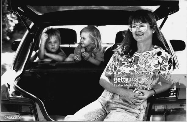 Anne Parsons with children Iain Sophie 2Anne and children with the small family car March 3 1993