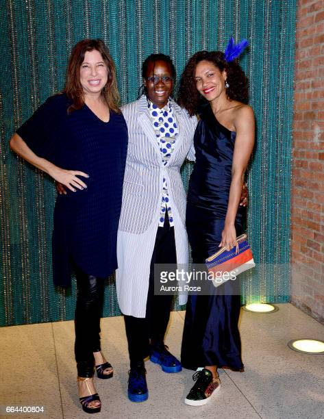 Anne Pasternak Mickalene Thomas and Tamara Belinfanti attend The Brooklyn Artists Ball 2017 at Brooklyn Museum on April 3 2017 in New York City