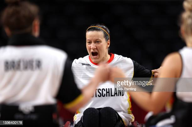 Anne Patzwald of Team Germany celebrates during the Wheelchair Basketball Women's preliminary round group A match between team Germany and team...