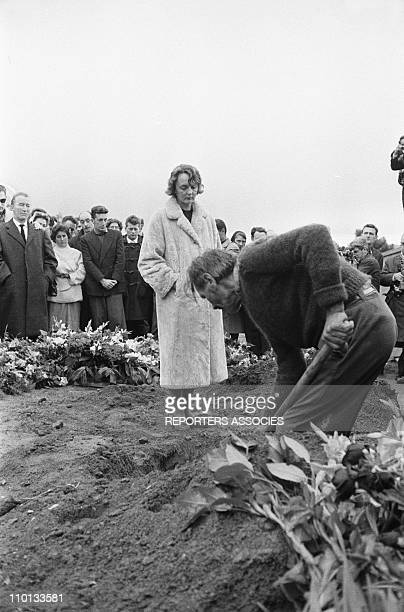 Anne Philipe wife of the actor Gerard Philipe at funeral of Gerard Philipe in Ramatuelle France on November 28 1959