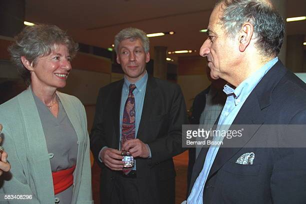 Anne Pingeot and JeanPierre Elkabbach at the screening of the film 'Conversation avec un president'