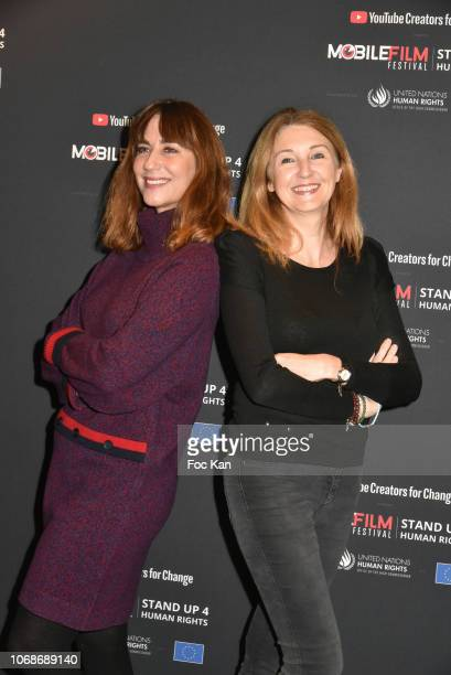 Anne Pourbaix and member of her team attend the 'Mobile Film Festival Stand Up 4 Human Rights Awards' Ceremony Hosted by Youtube Creators For Change...