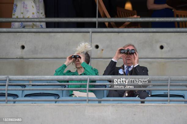 Anne, Princess Royal and Andrew Parker Bowles are seen watching a race during Royal Ascot 2021 at Ascot Racecourse on June 16, 2021 in Ascot, England.