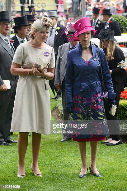 Anne Princess Royal and Mrs Mark Davies attend day three of Royal Ascot at Ascot Racecourse on June 19 2014 in Ascot England