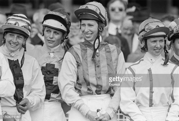 Anne, Princess Royal, and others making her flat racing debut at the Farriers Invitation Private Sweepstakes at Epsom in Surrey, UK, 23rd April 1985.