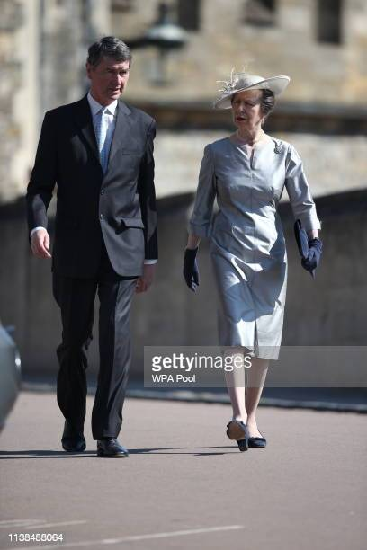 Anne Princess Royal and Vice Admiral Sir Timothy Laurence attend Easter Sunday service at St George's Chapel on April 21 2019 in Windsor England