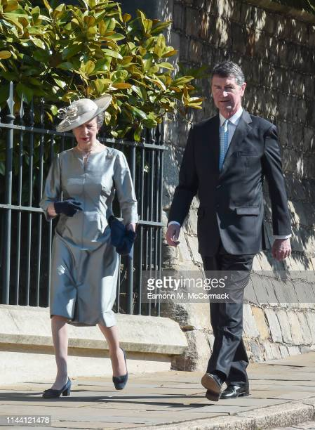 Anne Princess Royal and Vice Admiral Sir Timothy Laurence attend the Easter Sunday service at St George's Chapel on April 21 2019 in Windsor England