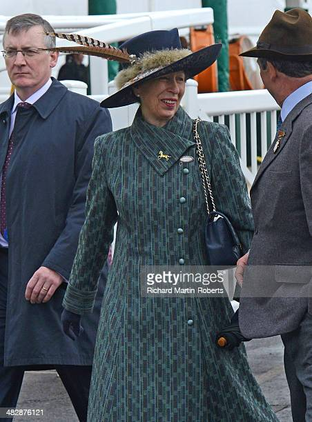 Anne Princess Royal arrives on Day 3 Grand National day of the Aintree races at Aintree Racecourse on April 5 2014 in Liverpool England