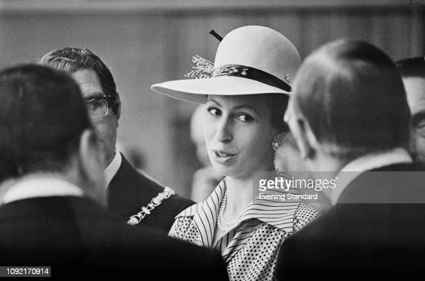 Anne, Princess Royal, attends a formal event, UK, 13th June 1975.
