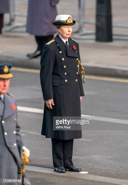 Anne, Princess Royal attends the National Service Of Remembrance at the Cenotaph in Westminster, amid the spread of coronavirus disease on November...