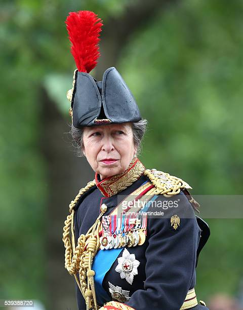 Anne Princess Royal atttends the Trooping the Colour this year marking the Queen's 90th birthday at The Mall on June 11 2016 in London England The...