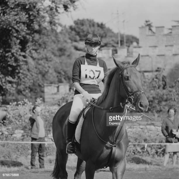 Anne Princess Royal on a horse at Midland Bank's 1973 Horse Trials at Cirencester Park UK 23rd September 1973