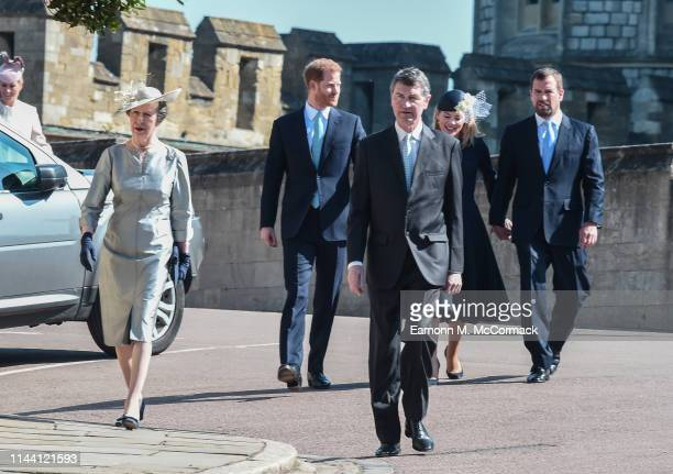 Anne, Princess Royal, Prince Harry, Duke of Sussex, Vice Admiral Sir Timothy Laurence, Autumn Phillips and Peter Phillips attend the Easter Sunday...