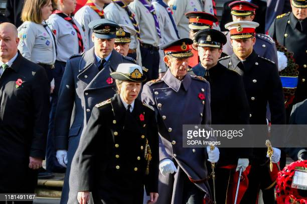 Anne Princess Royal Prince William Duke of Cambridge Prince Andrew Duke of York and Prince Harry Duke of Sussex attend the annual Remembrance Sunday...