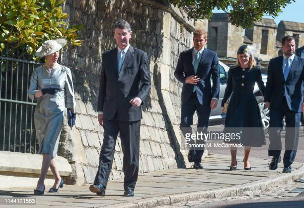 Anne, Princess Royal, Vice Admiral Sir Timothy Laurence, Prince Harry, Duke of Sussex, Autumn Phillips and Peter Phillips attend the Easter Sunday...