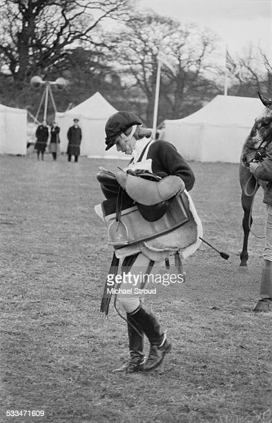 Anne Princess Royal weighing in after an intermediate class at the Downland Horse Trials 29th March 1972