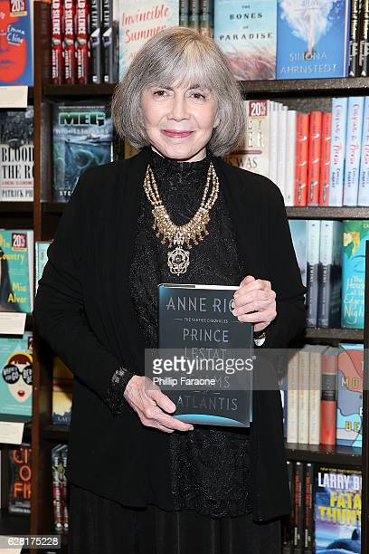Anne Rice attends the book signing and in conversation with Christopher Rice for 'Prince Lestat and The Realms of Atlantis' at Barnes Noble on...