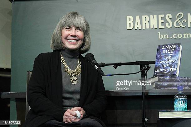 Anne Rice signs copies of her new book 'The Wolves of Midwinter The Wolf Gift Chronicles' at Barnes and Noble Union Square on October 16 2013 in New...