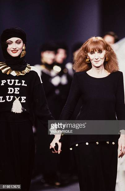 Anne Rohart and Sonia Rykiel walk the runway at the Sonia Rykiel Ready to Wear Fall/Winter 19891990 fashion show during the Paris Fashion Week in...