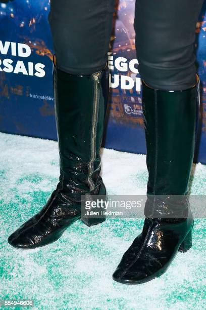 Anne Roumanoff shoe detail attends 'Santa Cie' Paris Premiere at Cinema Pathe Beaugrenelle on December 3 2017 in Paris France