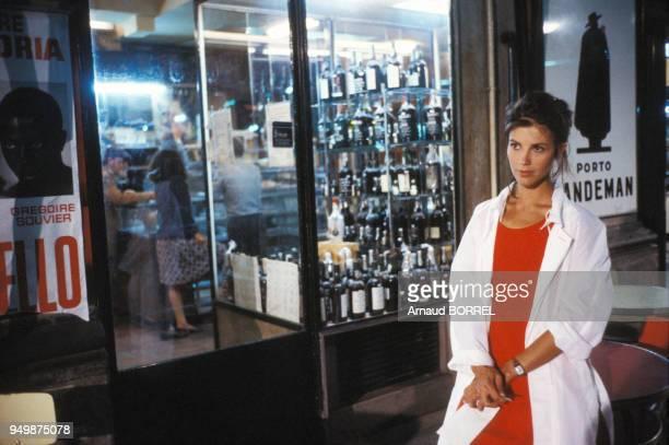 Anne Roussel lors du tournage du film 'Les Mendiants' de Benoît Jacquot en septembre 1986.
